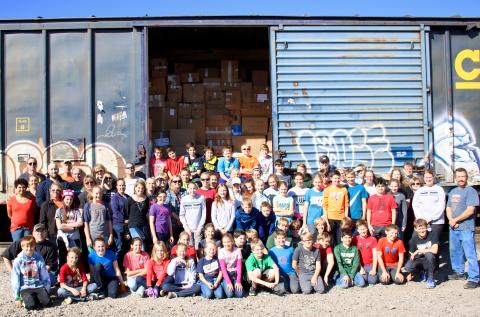 Middle school students traveled to the ConRail Train Yard in Detroit to pack boxcars for Lutheran World Relief. They unloaded semis and trucks of donated goods from across the region and loaded them into boxcars to be delivered to those in need.
