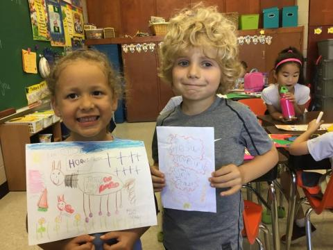 First grade students made cards for Shut-ins and people who are ill or in the hospital.